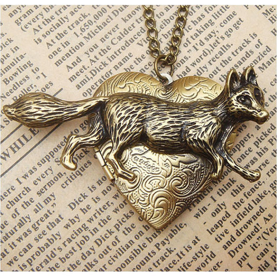 Steampunk Fox Locket Necklace Vintage Style Original Design