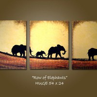 CUSTOM - Original Painting Large Abstract Modern Contemporary Heavy Textured fine art by Shanna - Row of Elephants
