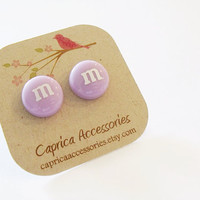 Light purple m&amp;m earrings