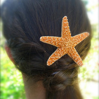 Starfish Hair Barrette-Starfish Beach Weddings-Large Sugar Starfish, Beach Weddings, Mermaids, Unique Gifts, Beach Lovers, Nautical Hair