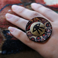 Eye on Brass Painted Coconut Shell Ring