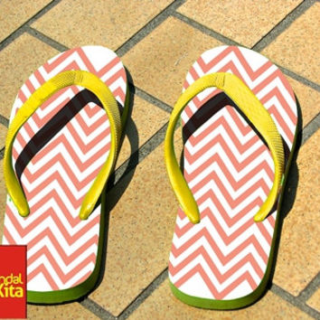 Flip Flops - Coral pink and white chevron