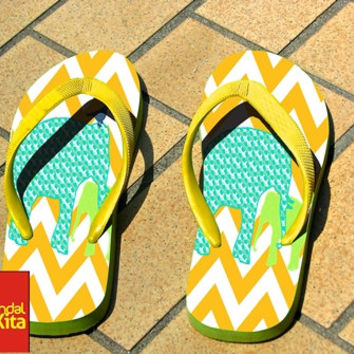 Flip Flops - Colorfuls Chevron elephant