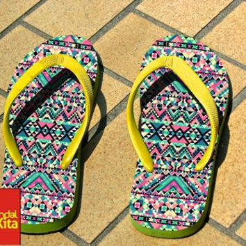 Flip Flops - Tribal aztec ethnic pattern