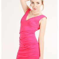 FITTED GATHER DETAILING DRESS @ KiwiLook fashion