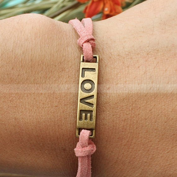 Bracelet--Pink love girlfriend bracelet, gift for girlfriend, bracelet for friends