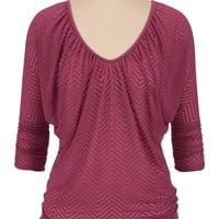 3/4 cinched sleeve chevron stripe pullover
