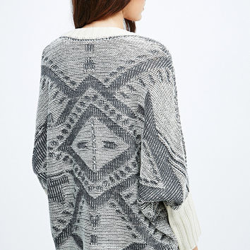 Blu Pepper Curved Cardigan in Ivory and Grey - Urban Outfitters