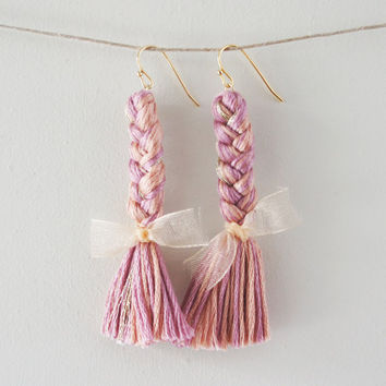 Braided Pink Dangle Earrings. Braided Earrings with cream bows and Fish Hooks. Kawaii jewelry.