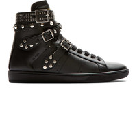 Black Studded Leather Court Classic High-Top Sneakers42418F132002