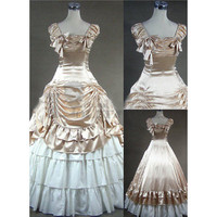 Elegant Sleeveless Square Collar Bowknot Champagne Gothic Victorian Dress for Women [TQL120427019] - £69.59