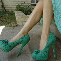Green High Heel Platform Pump Shoes New Size 7 1/2 New