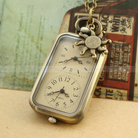 Pocket watch-Vintage pocket watch necklace with double dial plate design and sun charm