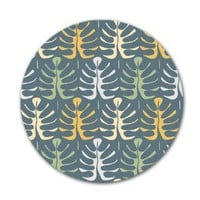 Kess InHouse JG1027AKP02 Julia Grifol My Leaves on Blue Art Clings 12-Inch Circle Sticker Wallpaper Decal