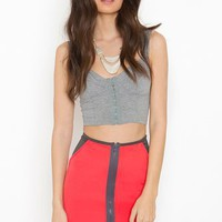 Zipped Scuba Skirt - Coral