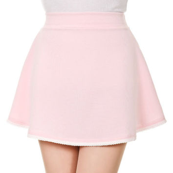 Lace Trim Pastel Color High Waist A-line Full Flared Circle Skater Mini Skirt