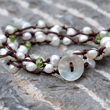 Bohemian hand knotted pearl wrap bracelet Shell button clasp layering bracelet Green semi precious peridot and pearl convertible jewellery