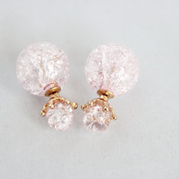 Ice texture round double sided earrings