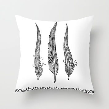 Feathers - Black And White Throw Pillow by Ornaart