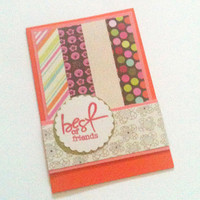 Best Friends Card Orange, Pink and Green
