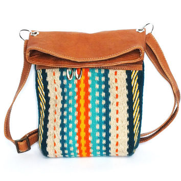 Handwoven, handmade ladies crossbody bag, shoulder bag, handbag, purse made of pure wool and leather