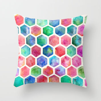 Hand Painted Watercolor Honeycomb Pattern Throw Pillow by micklyn | Society6
