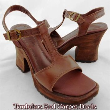 Womens shoe TWO LIPS Wood Clogs High Heel Sandal Platform Pump Brown LEATHER 8 M