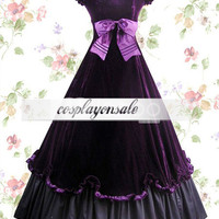 Lolita Costumes Purple And Black Floor Length Classic Lolita Dress [T110137] - $82.00
