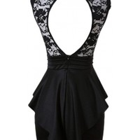 Lace Beck Peplum Dress