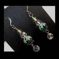 DEEP TURQUOISE Unique Handmade, Hand Painted, Lightweight Dangle Earrings | whiteowldesigns - Jewelry on ArtFire