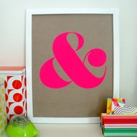 Ampersand Screen Print - Neon Pink