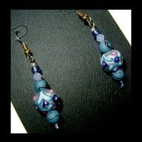 Petit Country Blue and Swirl Earrings, Light Weight Unique Handmade, Hand Painted, Dangles | whiteowldesigns - Jewelry on ArtFire