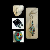 MEDICINE WHEEL Dangle Earrings Unique Handmade, Hand Painted, and Light Weight | whiteowldesigns - Jewelry on ArtFire