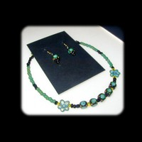 Petit Summer Green Unique Handmade, Hand Painted, Necklace Choker and Earring Set | whiteowldesigns - Jewelry on ArtFire