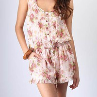 sheer-floral-print-drawstring-romper PINK - GoJane.com