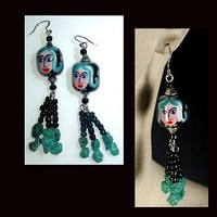 TURQUOISE LADY Long, Unique Handmade, Hand Painted, Dangle Earrings | whiteowldesigns - Jewelry on ArtFire
