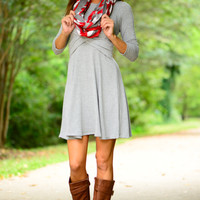 Double Crossed Dress, Grey
