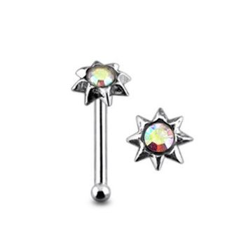 Jeweled SUN Sterling Silver Ball End Nose pin Body jewelry