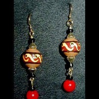 Terre Cotta Swirl Dangle Handmade, Hand Painted, Beaded Earrings | whiteowldesigns - Jewelry on ArtFire