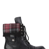 Combat Boot with Plaid Foldover Cuff
