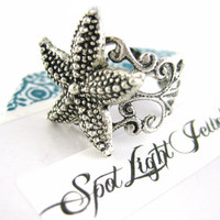 Silver Starfish Ring - Starfish Jewelry Adjust Ring Silver Filigree Nautical Ring
