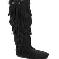 Minnetonka 5-Layer Fringe Boots - Brown