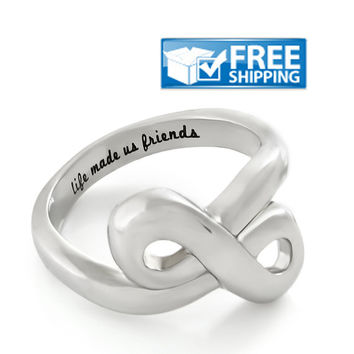 "Friend Gift - Infinity Friendship Ring Engraved on Inside with ""Life Made Us Friends"", Sizes 6 to 9"