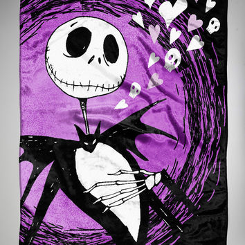 Nightmare Before Christmas Jack Hearts Fleece Blanket