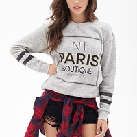 FOREVER 21 Paris Boutique Sweatshirt Heather Grey/Black