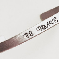 Personalized Silver Cuff Bracelet - Dainty 1/4&quot; Custom Hand Stamped Aluminum Cuff Bracelet - Gift for Her