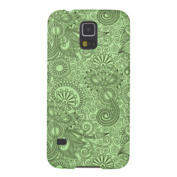 Damask Green Floral Pattern Samsung Galaxy S5 Case