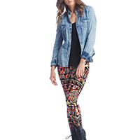 Bold Tribal Print Brushed Leggings | Wet Seal
