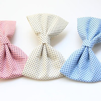 Polka dot Hair Bows - rose yellow or blue