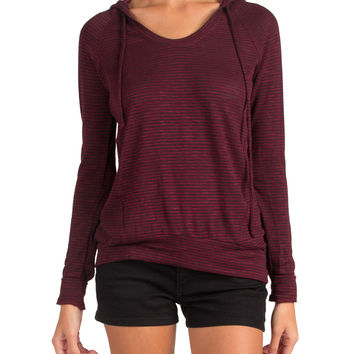 THIN STRIPED HOODIE TOP - BURGUNDY